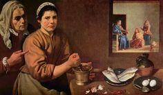 Cristo en casa de María y Marta. Diego Rodríguez de Silva y Velázquez. 1618. Localización: Nationale Gallery (Londres). https://painthealth.wordpress.com/2016/04/19/cristo-en-casa-de-maria-y-marta/