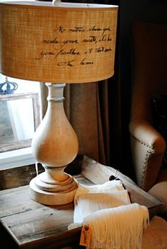 Script on a lamp shade.