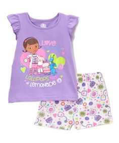 Another great find on #zulily! Purple Doc McStuffins Top & Shorts - Toddler by Bentex #zulilyfinds
