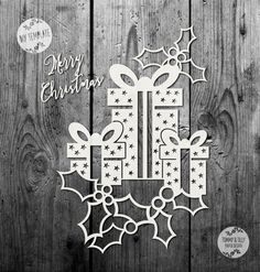 SVG / PDF Christmas Present Design - Papercutting / Vinyl Template to cut yourself (Commercial Use)