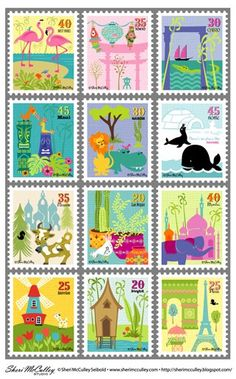 Under A Cherry Tree: Friday Freebie: Postage Stamp Set by Sheri McCulley