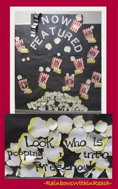 Preschool Bulletin Board Movie/Popcorn Theme (from Bulletin Board RoundUP via RainbowsWithinReach) Looks whos popping into the Bible or Moses or Noah etc....