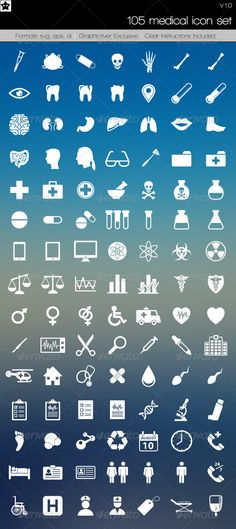 105 Medical Icons — Vector EPS #nurse #bone • Available here → https://graphicriver.net/item/105-medical-icons/6295959?ref=pxcr