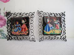 Cadre en céramique, 2 cadres fer forgé céramique, peint à la main, décoration murale, art populaire vintage, 1950, souvenir Mallorca de la boutique CrazyFrenchVintage sur Etsy