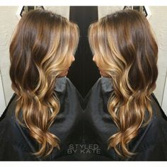 Balayage hairstyle on long hair, medium brown with blonde balayage ...
