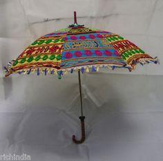 Ethnic Indian Colorful Sun Protection Parasol Umbrella Decor Vintage Light Cool artwork. Indian Handmade Cotton Umbrella  Adorn with Designer Embroidery Work.