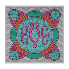Stitchtopia Gear Applique Frame 2 Fabric with Circle 3-Letter Monogram Set