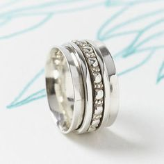 Maharani Silver Spinning Ring - rings