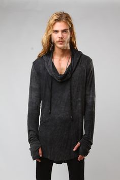 The 'Parasite T-Shirt' is a vintage washed, drape neck hooded t-shirt made from lightweight cotton rib. It is then vintage washed for a soft, worn in feel.