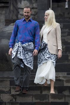 Crown Prince Haakon and Crown Princess Mette-Marit of Norway visit Borobudur Temple, near Yogyakarta, during an official 3-day visit to Indonesia