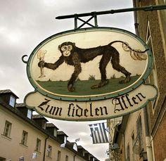 Guildsign for tavern in Salzburg - ′Happy Monkey′