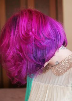 plum on the bottom layer, purple in the middle and flamingo pink on the top