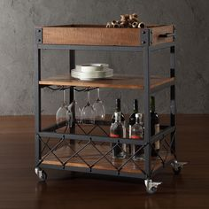 Myra Rustic Mobile Kitchen Bar Serving Cart | Overstock.com Shopping - Great Deals on Kitchen Carts