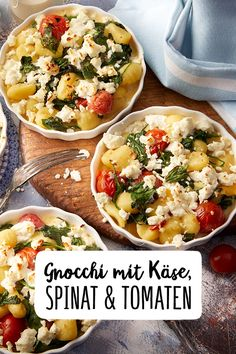 Gnocchi with cherry tomatoes, garlic spinach and sheep's cheese recipe – REWE.de www.de / … Gnocchi with cherry tomatoes, garlic spinach and sheep's cheese recipe – REWE.de www. Cheese Recipes, Pork Recipes, Veggie Recipes, Dinner Recipes, Cooking Recipes, Healthy Recipes, Cooking Pasta, Cooking Steak, Garlic Spinach