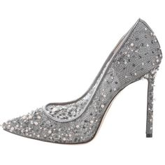 Preowned Jimmy Choo New Sold Out Silver Pearl High Heels Pumps In Box ($1,325) ❤ liked on Polyvore featuring shoes, pumps, heels, silver, silver high heel shoes, jimmy choo, pearl pumps, high heel shoes and pearl shoes