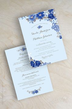 Floral, antique flowers, botanical, garden wedding invitations shown in light blue, sapphire, cobalt blue. www.appleberryink.com