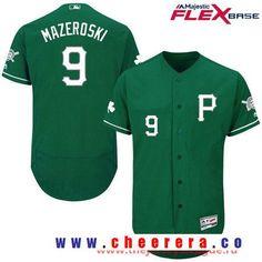 Men's Pittsburgh Pirates #9 Bill Mazeroski Green St. Patrick's Day Stitched MLB 2016 Majestic Flex Base Jersey