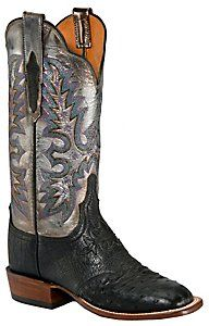 Lucchese® Cowgirl™ Ladies Black Full Quill Ostrich w/Metallic Exotic Square Toe Boot - these boots are beautiful but even better and as always with Lucchese, they are incredibly comfortable. They fit like a dream.