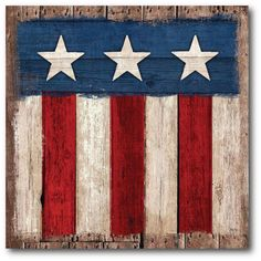 Look at this Courtside Market Three-Star Glory Gallery-Wrapped Canvas on today! Barn Quilt Designs, Barn Quilt Patterns, Quilting Designs, Blue Pallets, Painted Pallets, Pallet Flag, American Flag Art, Painted Barn Quilts, Flag Painting