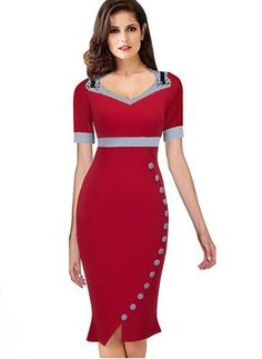 LZJ high quality female work dress vestidos new summer clothing retro V neck short sleeve button solid color stitching dress Casual Summer Dresses, Dresses For Work, Formal Dresses, Dress Work, Dress Summer, Dress Outfits, Fashion Dresses, Dress Up, Mode Glamour