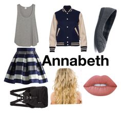 """""""Annabeth goes to school #PJ #Annabeth Chase"""" by creativangel on Polyvore featuring Mode, Iris & Ink, Chicwish, SO und Lime Crime"""