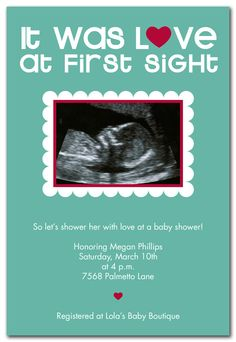 Love at First Sight Aqua - Baby Shower Invitations by Invitation Consultants. (Item # IC-RLP-164 ) $43.00