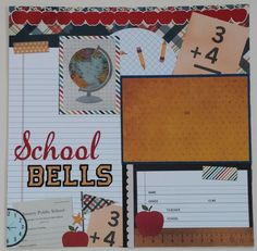School Bells  premade scrapbook layout page by ohioscrapper, $15.00