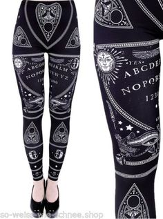 Restyle-Ouija-Leggings-Ankh-Mond-Sonne-Spirit-Moon-Occult-Pants-Gothic-Witchy