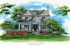 CUSTOM HOUSE PORTRAITS by Richelle Flecke x pen and ink with watercolor house portrait of a family's residence in Hinsdale, Illinois. Call to order a portrait of YOUR home! House Sketch, House Drawing, Beautiful Buildings, Beautiful Homes, Architecture Concept Drawings, Family Drawing, Building Drawing, Family Illustration, Cottage Art