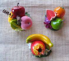 3 Tropical fruits hair Clips Carmen Miranda Style by olgadesigns