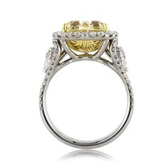 This beautiful fancy yellow heart shaped diamond ring is remarkable from every angle! The heart shaped diamond is elegantly showcased in the center of this piece and it GIA certified. Heart Shaped Diamond Ring, Heart Shaped Engagement Rings, My Engagement Ring, Designer Engagement Rings, Girl Stuff, Ring Designs, Heart Shapes, Wedding Rings, Bling