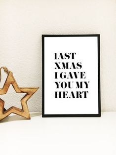 Last Christmas I gave you my heart Heart Print, Print Poster, Xmas, Christmas, Typo, Letter Board, Calm, Lettering, Artwork
