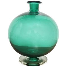 Midcentury Spherical Footed Green Glass Vase | From a unique collection of antique and modern vases and vessels at https://www.1stdibs.com/furniture/decorative-objects/vases-vessels/