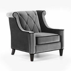 Armen Living Barrister Chair - Gray Velvet & Black Piping