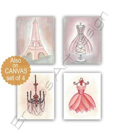 French Nursery Art, Girls room decor, Paris Eiffel Tower, Shabby Chic Nursery, Chandelier, Pink Vintage dress, Ballet dress wall art