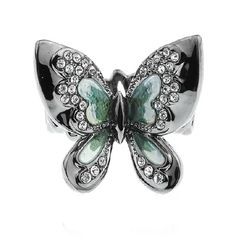 Butterfly Rhinestone Alloy Women Ring #fashion #jewelry Butterfly Gifts, Butterfly Jewelry, Natural Crystals, Stones And Crystals, Green Diamond, Love Ring, Beautiful Butterflies, Turquoise Bracelet, Gemstone Rings