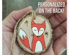 Personalized wood Christmas ornament, fox ornament, custom ornament, wood burning ornament, daughter ornament, son ornament, first Christmas