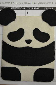Handmade felt iPad case--ivory/black