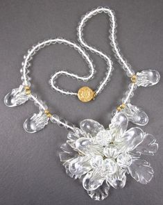 OUTSTANDING FRANK HESS FOR MIRIAM HASKELL CLEAR MOLDED GLASS NECKLACE
