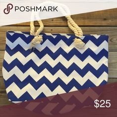 """Canvas Blue & White Chevron Bag Canvas Chevron Tote Bag Blue & White  20""""x13""""x5"""" 10"""" drop handle/shoulder strap Zipper closure  Perfect for football, baseball, basketball, soccer, cheer, etc. mom!  Save on a bundle! Lots of clothes, makeup, jewelry and new boutique items. Great for Christmas gift giving or stocking stuffers. I love accepting offers. Bags"""