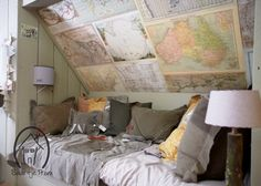 Floor to ceiling painted wood paneled attic bedroom space with map art Boy Room, Kids Room, Attic Spaces, Children's Place, Wood Paneling, Painting On Wood, Room Inspiration, Bed Pillows, Sweet Home