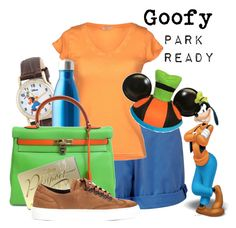"""""""Goofy: Park Ready"""" by laniocracy on Polyvore featuring Musto, eWatchFactory, S'well, Hermès, Disney, Valas and disneyland"""