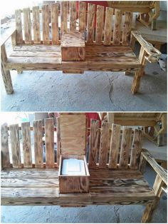 This exquisite look and design of the creative wood pallet bench would give out a candid look to your garden areas. It is looking so contemporary in styling formations that further include the portion of the storage box in the middle of it. Wood pallet planks have been assembled in one variation where rustic dark brown color is the main attraction of the creation.