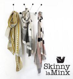 Three hand block printed scarves in natural vegetable dyes by Skinny laMinx