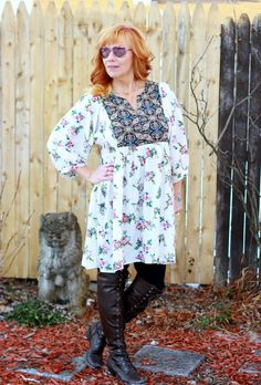 Mixed Print Tunic Dress & Over The Knee Boots: A Fine Line