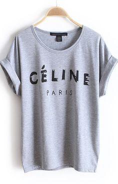 Grey Short Sleeve PARIS Print Loose T-Shirt