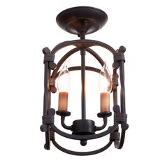 World Imports Hastings Collection 2-Light Rust Semi-Flush Mount Lantern-WI6140942 - The Home Depot
