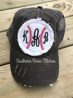 048ab465229 Womens Monogrammed baseball trucker hat distressed charcoal patch cap