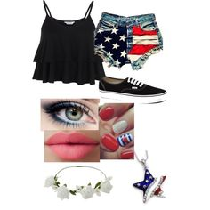 {Made by volleyballbeauty06 on polyvore} forth of july outfit ☆