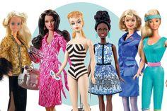 Oscar de la Renta (1985), DVF (2006), Primeira Barbie (1959), Petite Afro (2016), Candidata a presidente (2000) e Fitness (1984) (Foto: Mattel/ Divulgação, Vogue Paris Dec/Jan, Vogue Japão Abril/2015 e Reprodução)